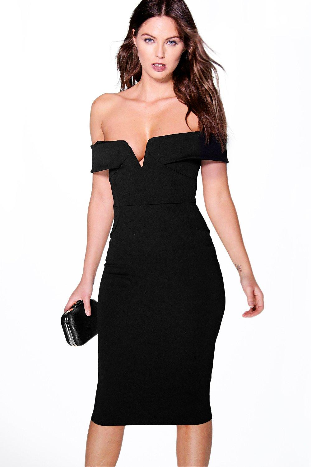 Lara Off The Shoulder Seam Detail Midi Dress