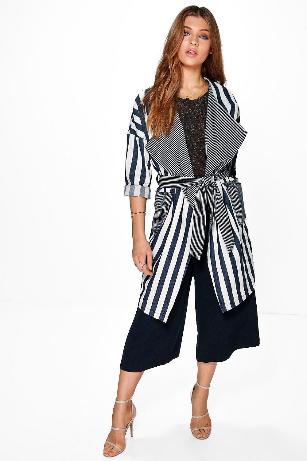 Lara Navy & White Striped Oversize Denim Duster Coat
