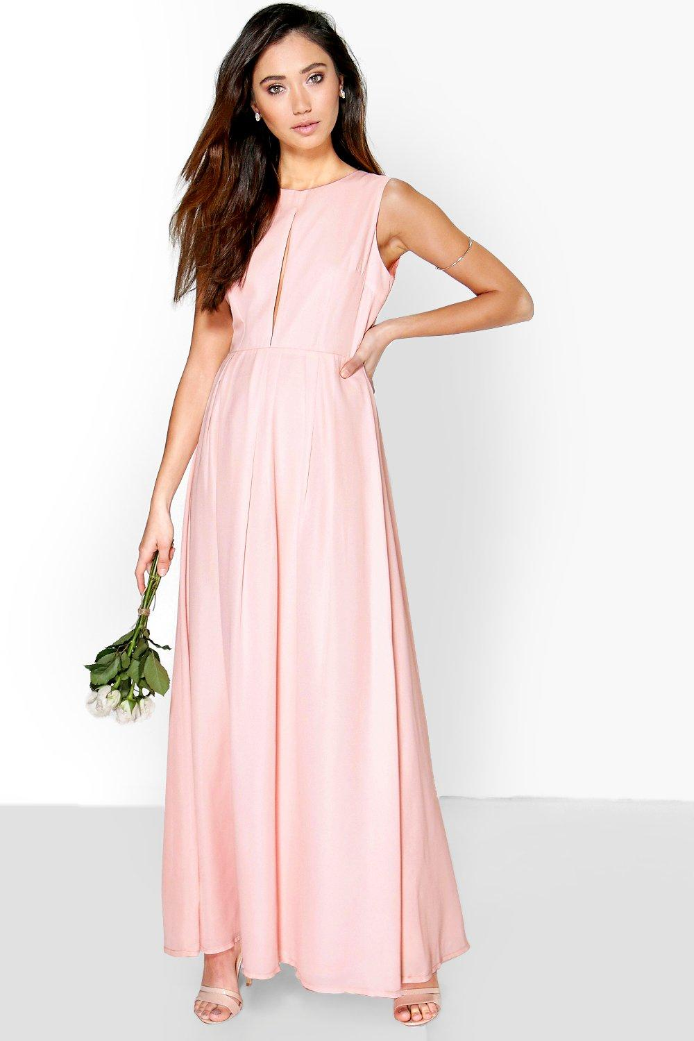 Laura Chiffon Keyhole Pleated Maxi Dress