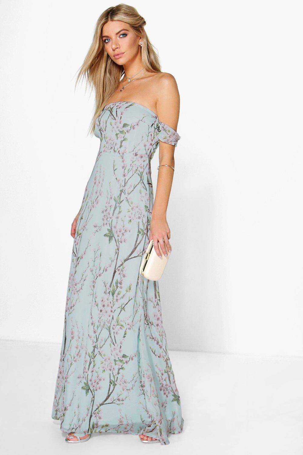 Jessica Floral Off The Shoulder Maxi Dress At Boohoo Com