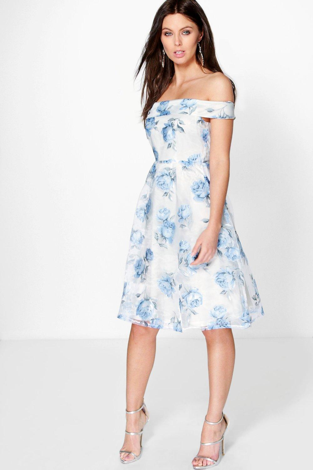 Katy floral organza off the shoulder skater dress at for Boohoo dresses for weddings