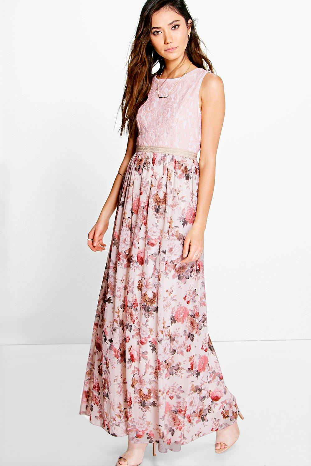 Hayley Lace Top Floral Chiffon Maxi Dress at boohoo.com