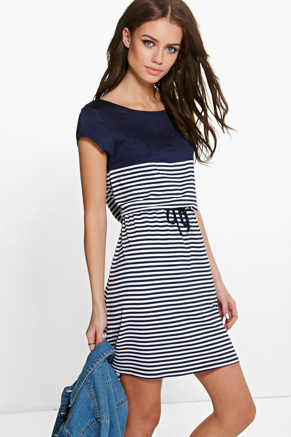Allie Colour Block Stripe Skater Dress
