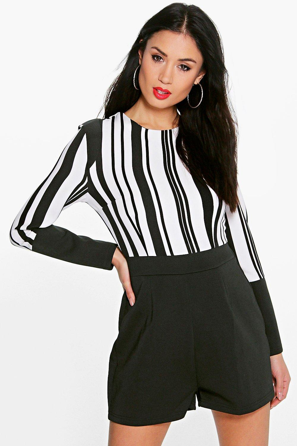 Angel Mono Stripe High Neck Long Sleeve Playsuit