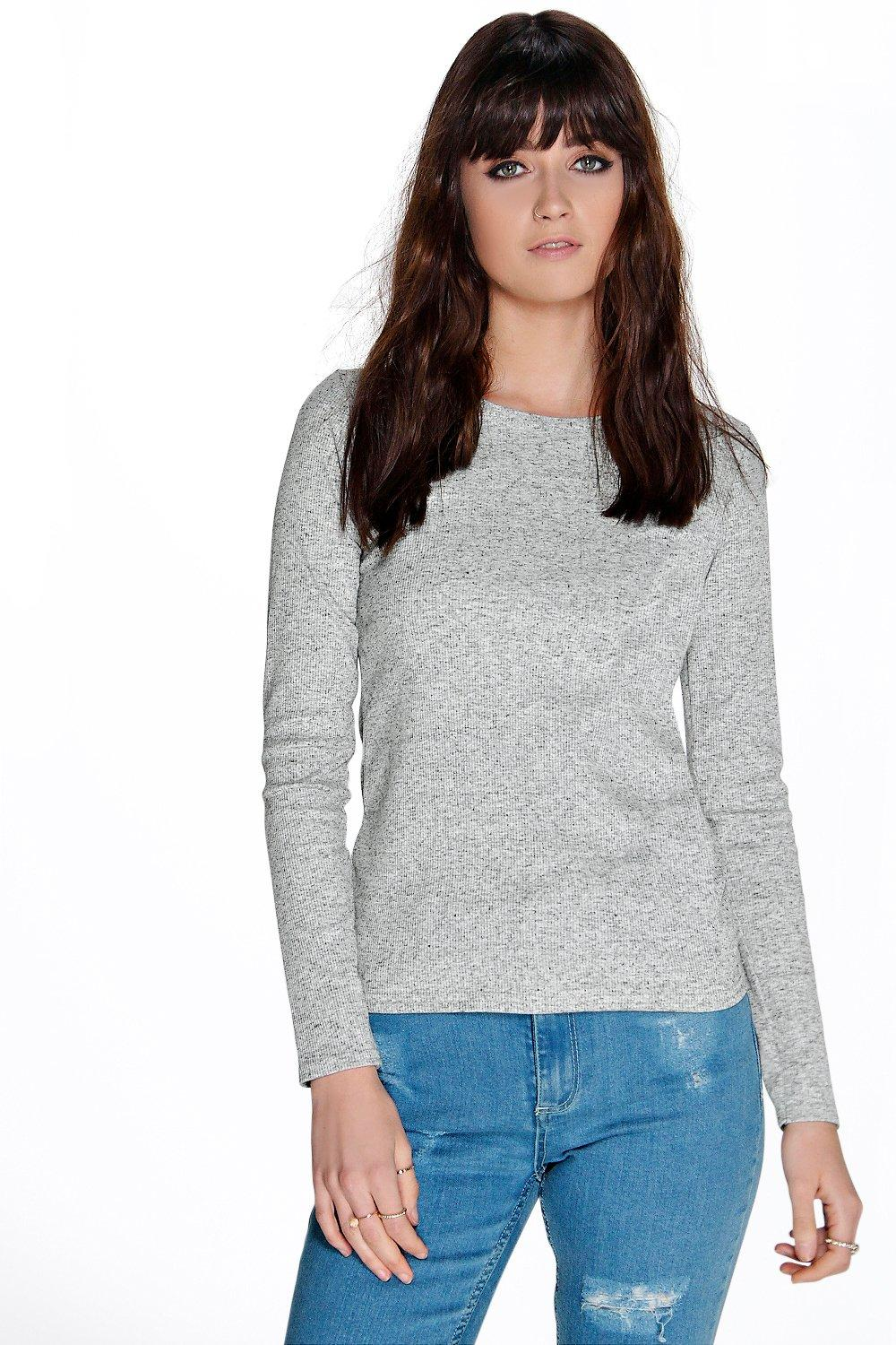 Scoop Neck Ribbed Long Sleeve Top oatmeal