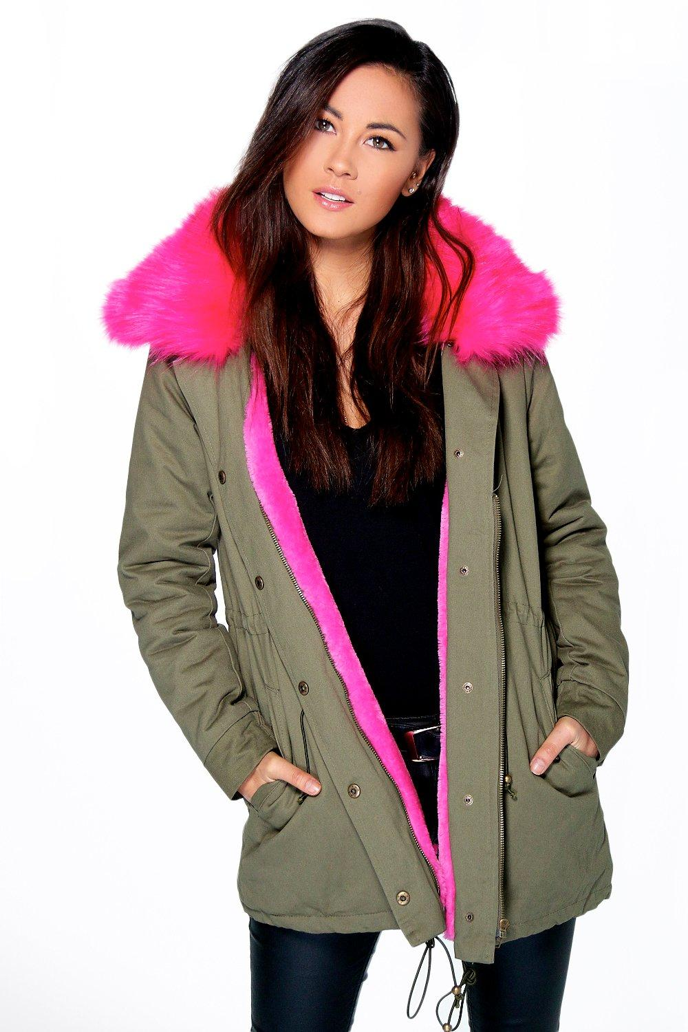 Faith Faux Fur Collar Parka fuchsia