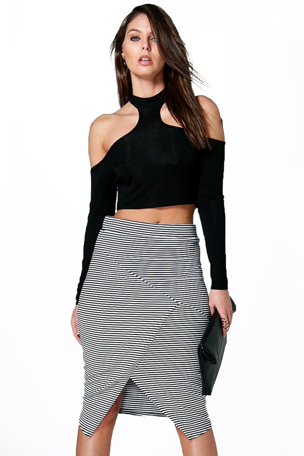 Vera Striped Sliced Midi Skirt