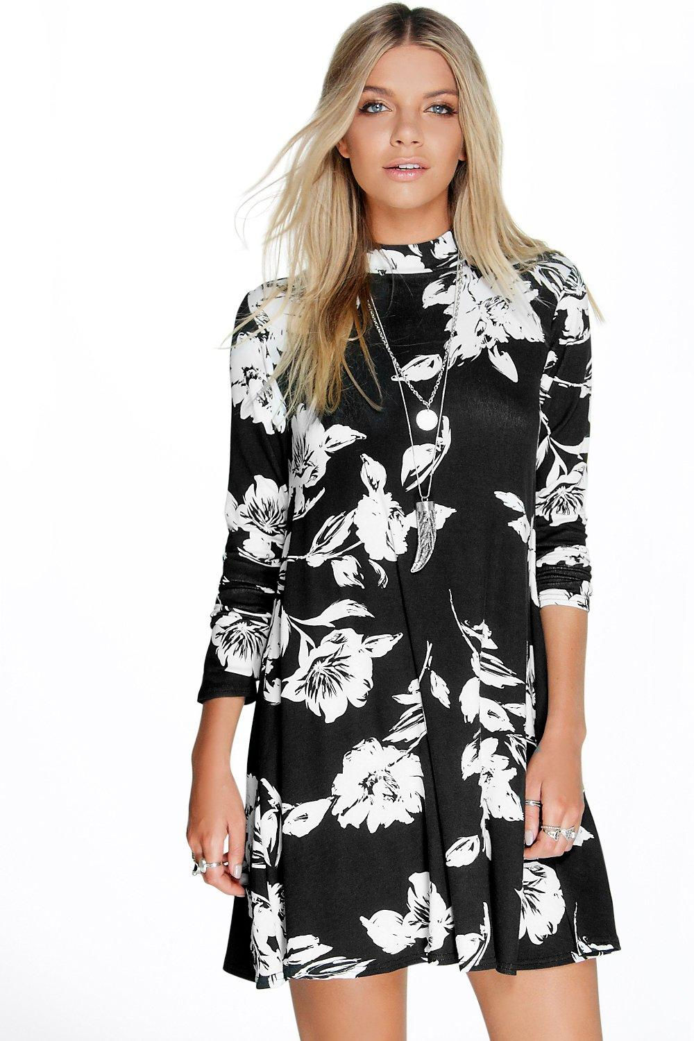 Flory Long Sleeve High Neck Swing Dress