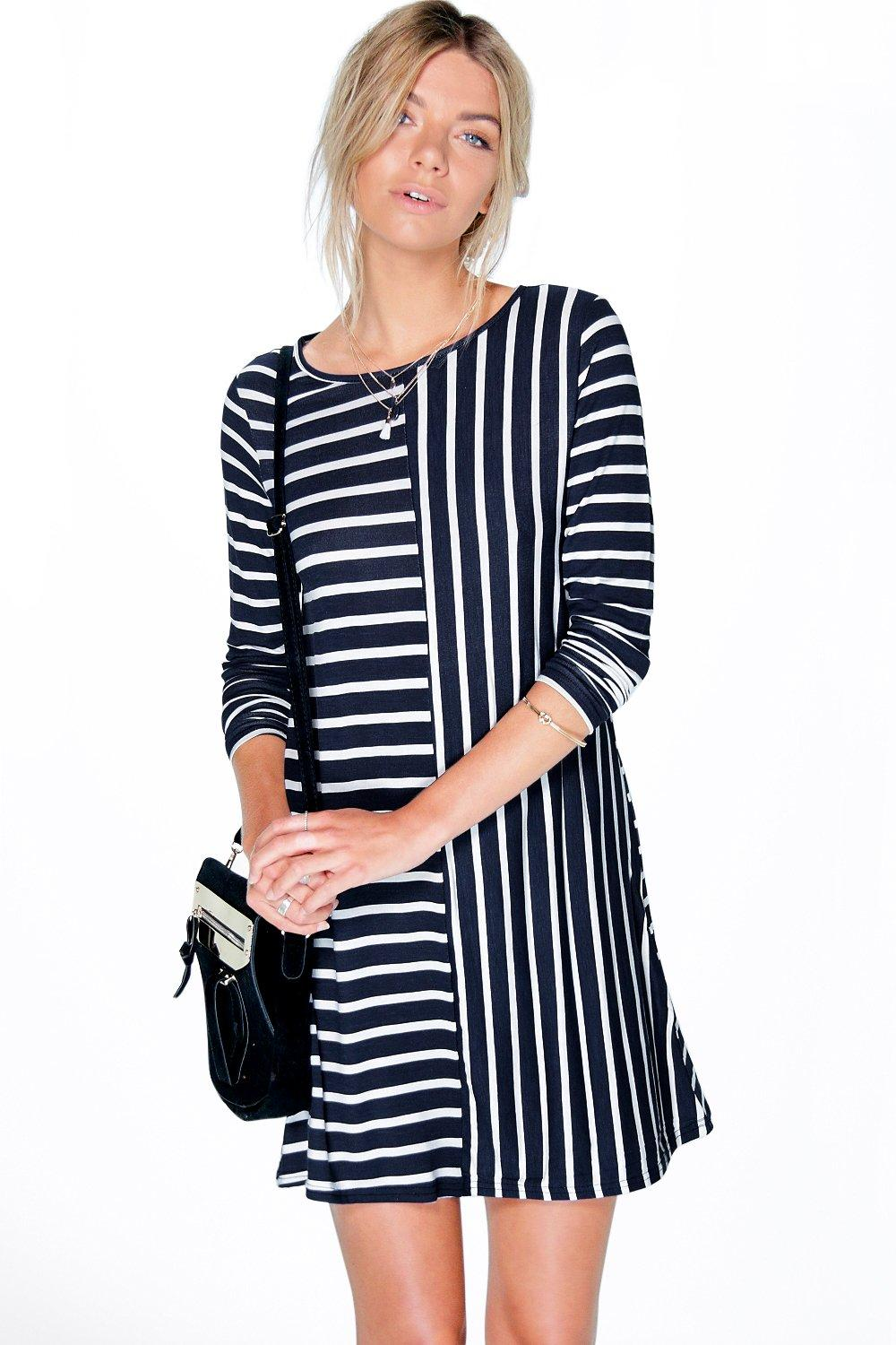 Ria Contrast Stripe Shift Dress