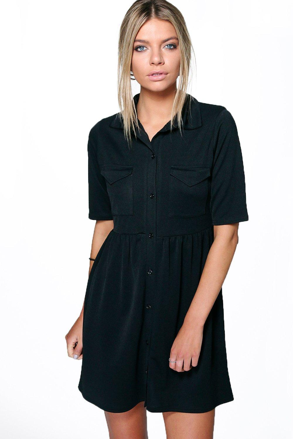 Polly Popper Shirt Pocket Dress At Boohoo