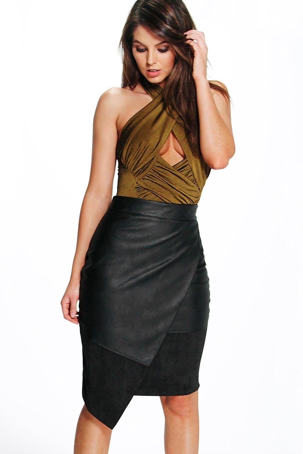 Ali Suedette And Leather Look Midi Skirt