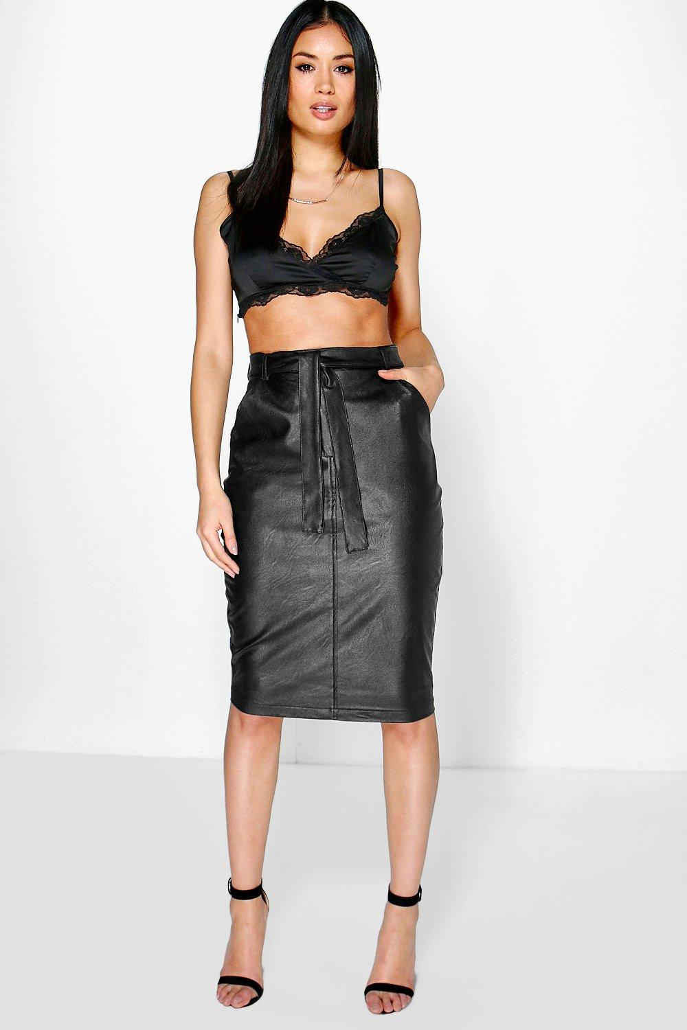 Aneki Tie Waist Leather Look Midi Skirt at boohoo.com
