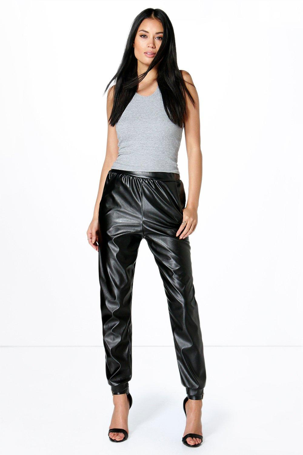 Keeva Leather Look Cuffed Luxe Jogger