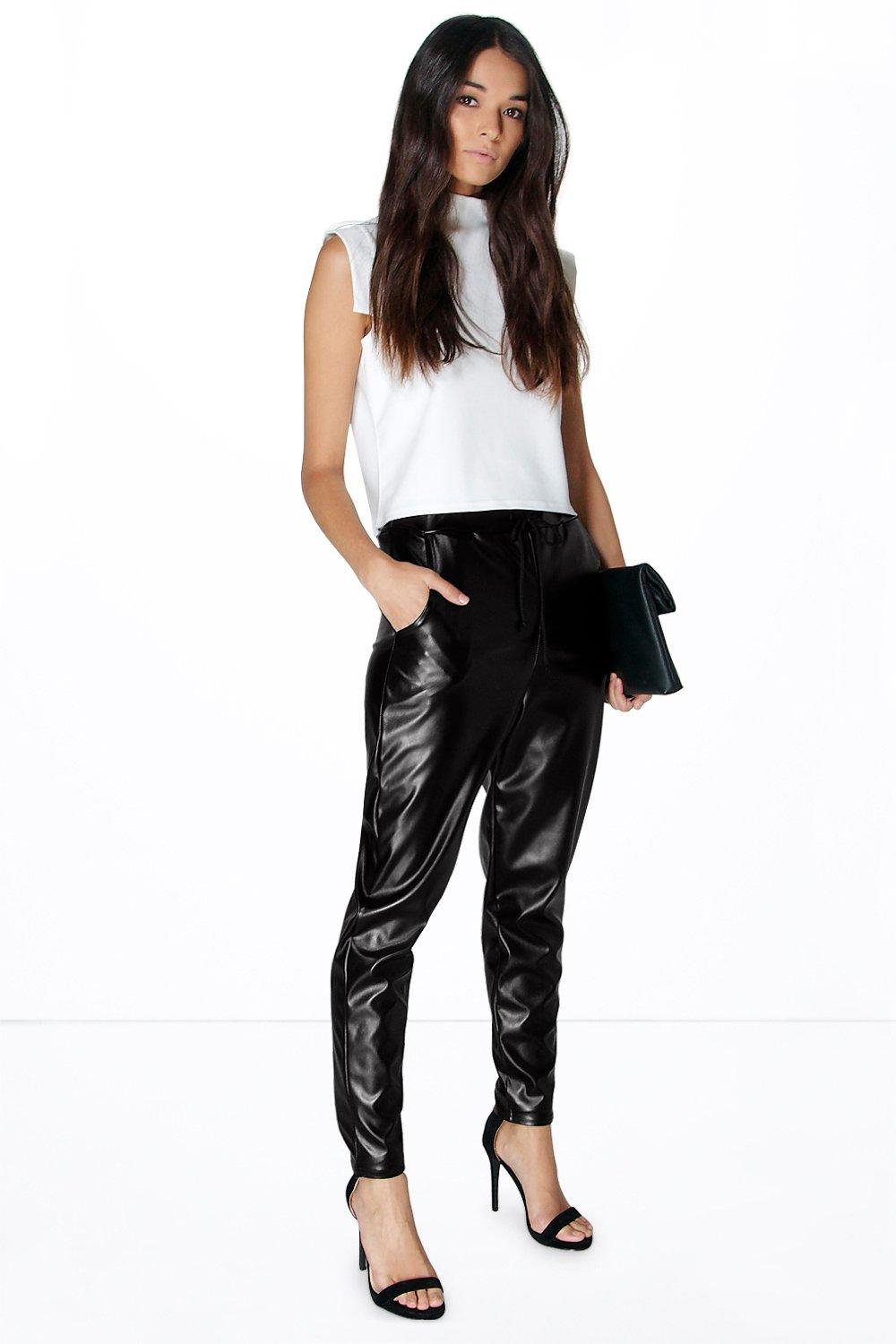 Viola Leather Look Tapered Slim Luxe Jogger