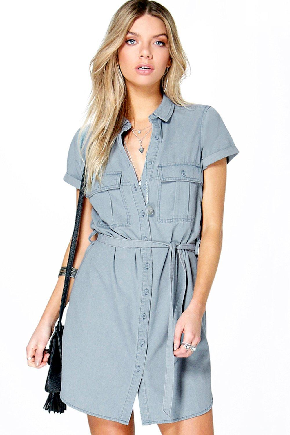 Phoebe Utility Tie Waist Denim Dress