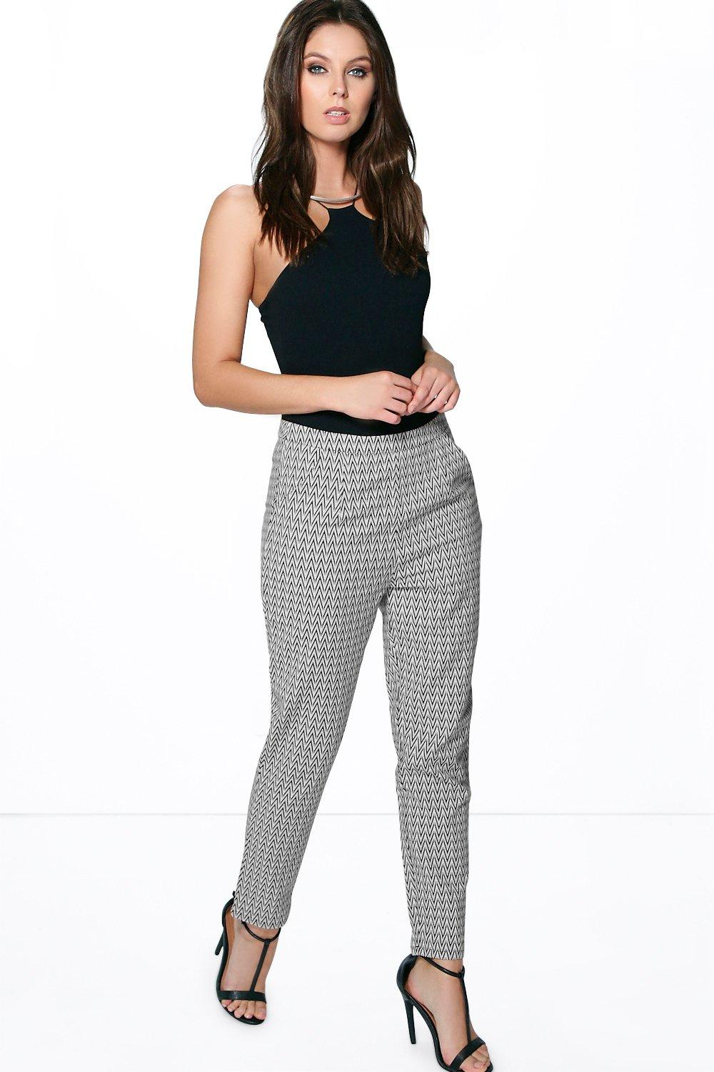 Jasmine Monochrome Slim Fit Ankle Trousers
