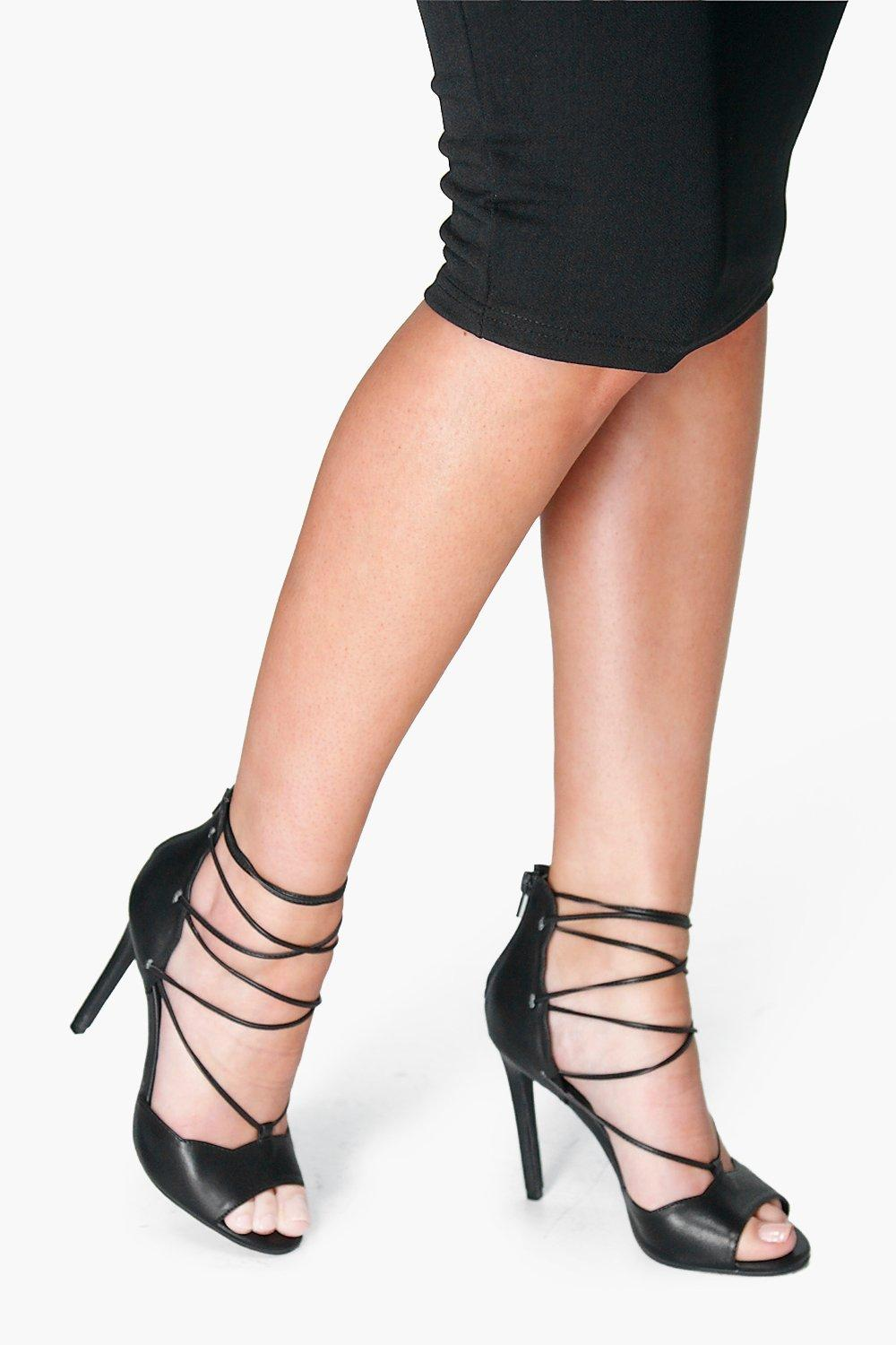 Lacey Lace Up Ghillie Peeptoe Court