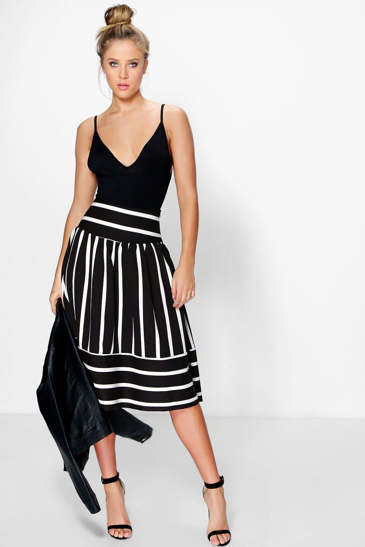 Amaya Contrast Stripe Full Midi Skirt at boohoo.com