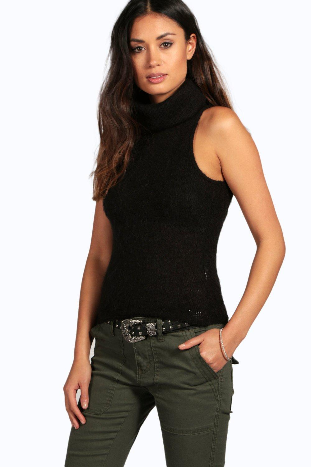 Lottie Brushed Knit Sleeveless Cowl Neck Jumper