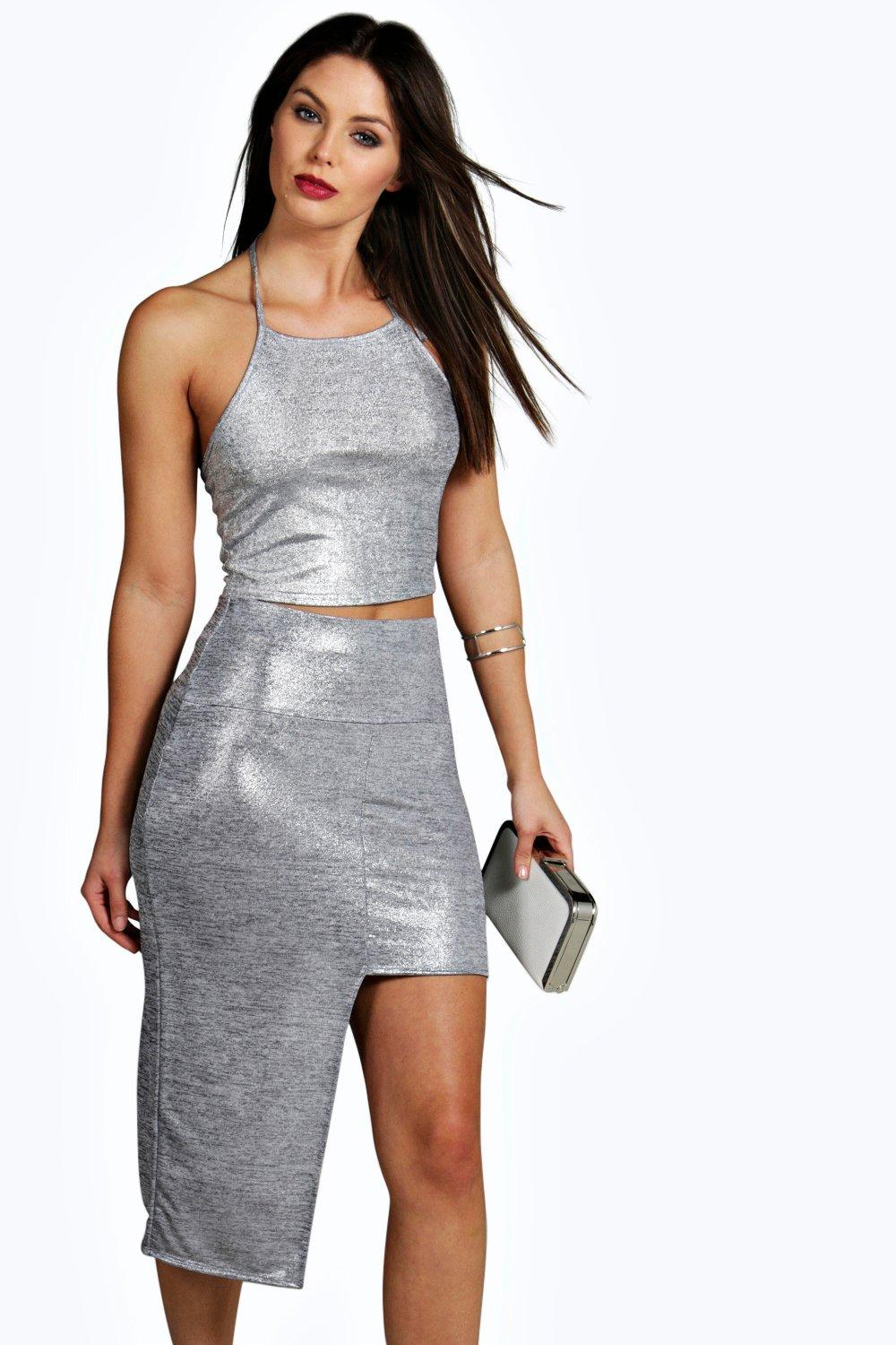 Marley Metallic Knit Step Hem Midi Skirt