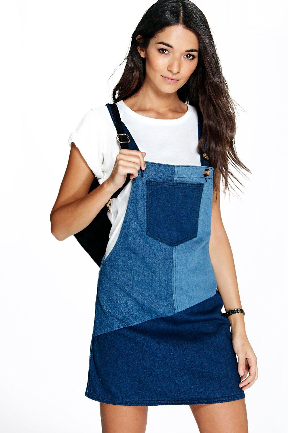 Sophie Patchwork Denim Pinafore