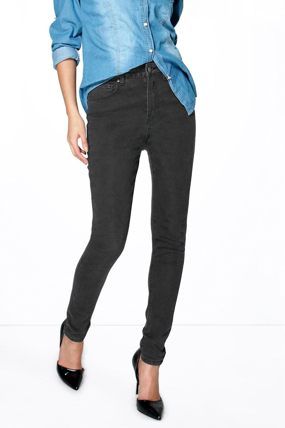 Joanna 5-Pocket High Rise Washed Black Skinny