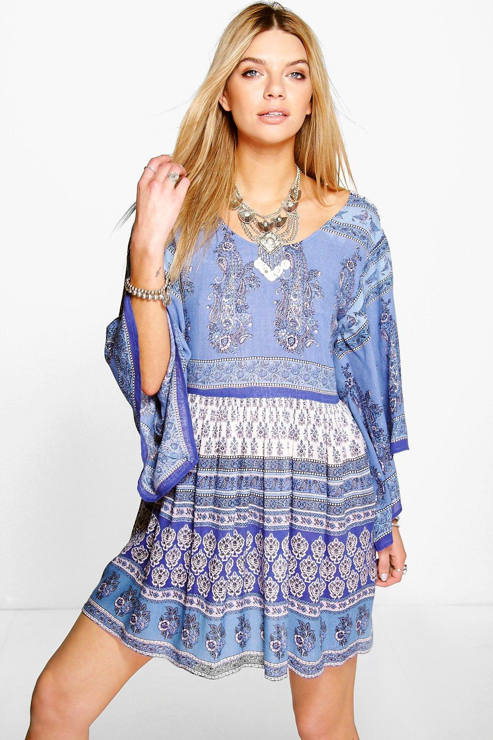 Camila Paisley Batwing Smock Dress