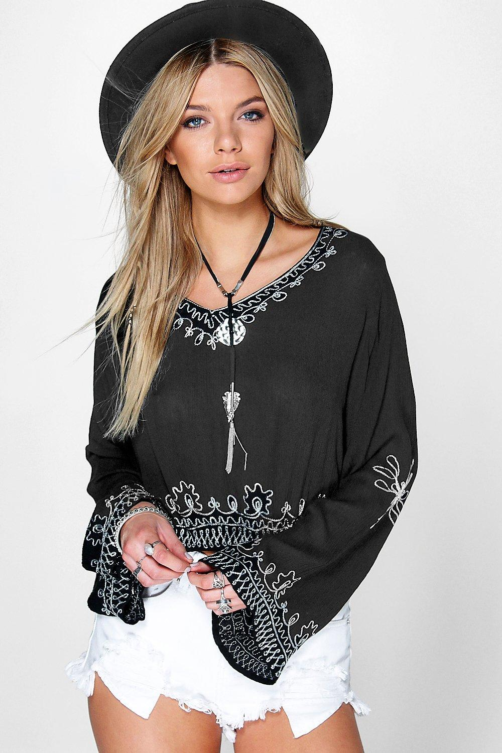 Lola Embroidered Woven Wide Sleeve Tunic