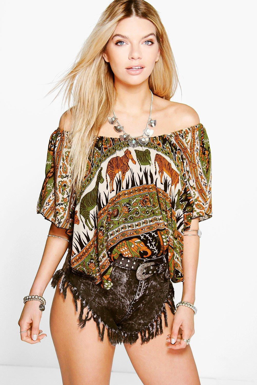 Lacey Ethnic Print Off The Shoulder Top