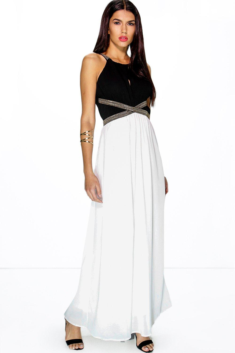Hayley Metal Trim Contrast Maxi Dress