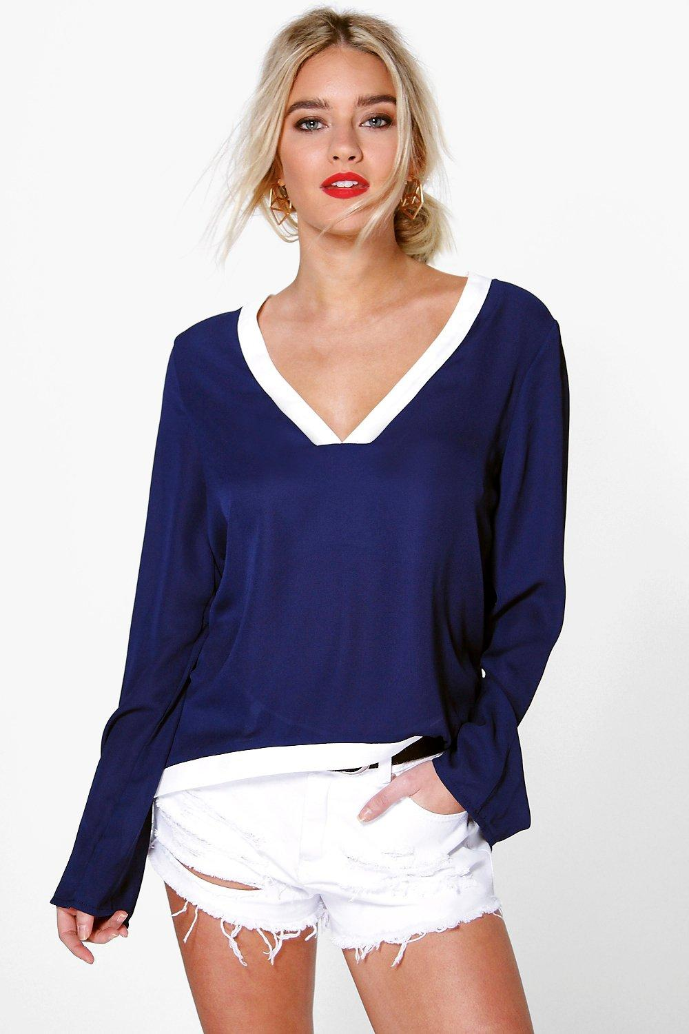Aoife V Neck L/S Contrast Trim Blouse