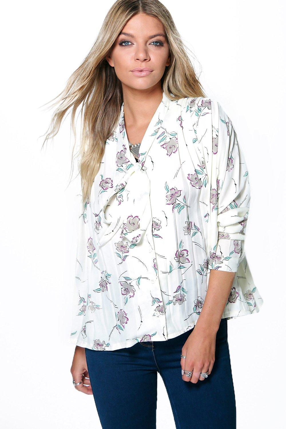 Beci Floral Print Pleat Pussy Bow Blouse