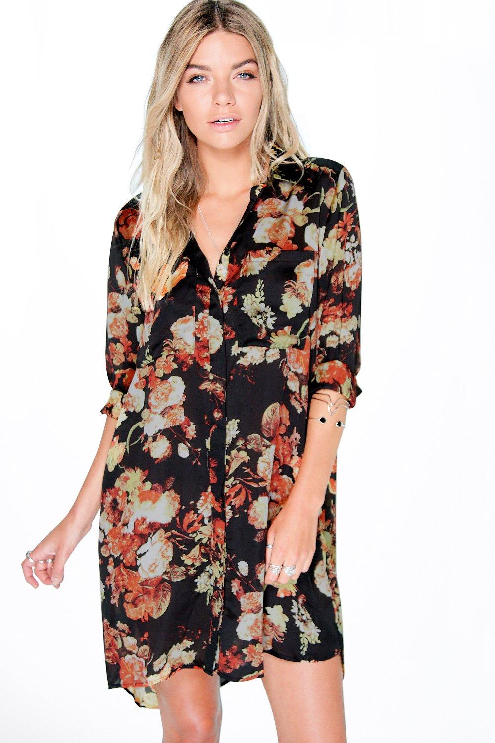 Margret Winter Floral Shirt Dress