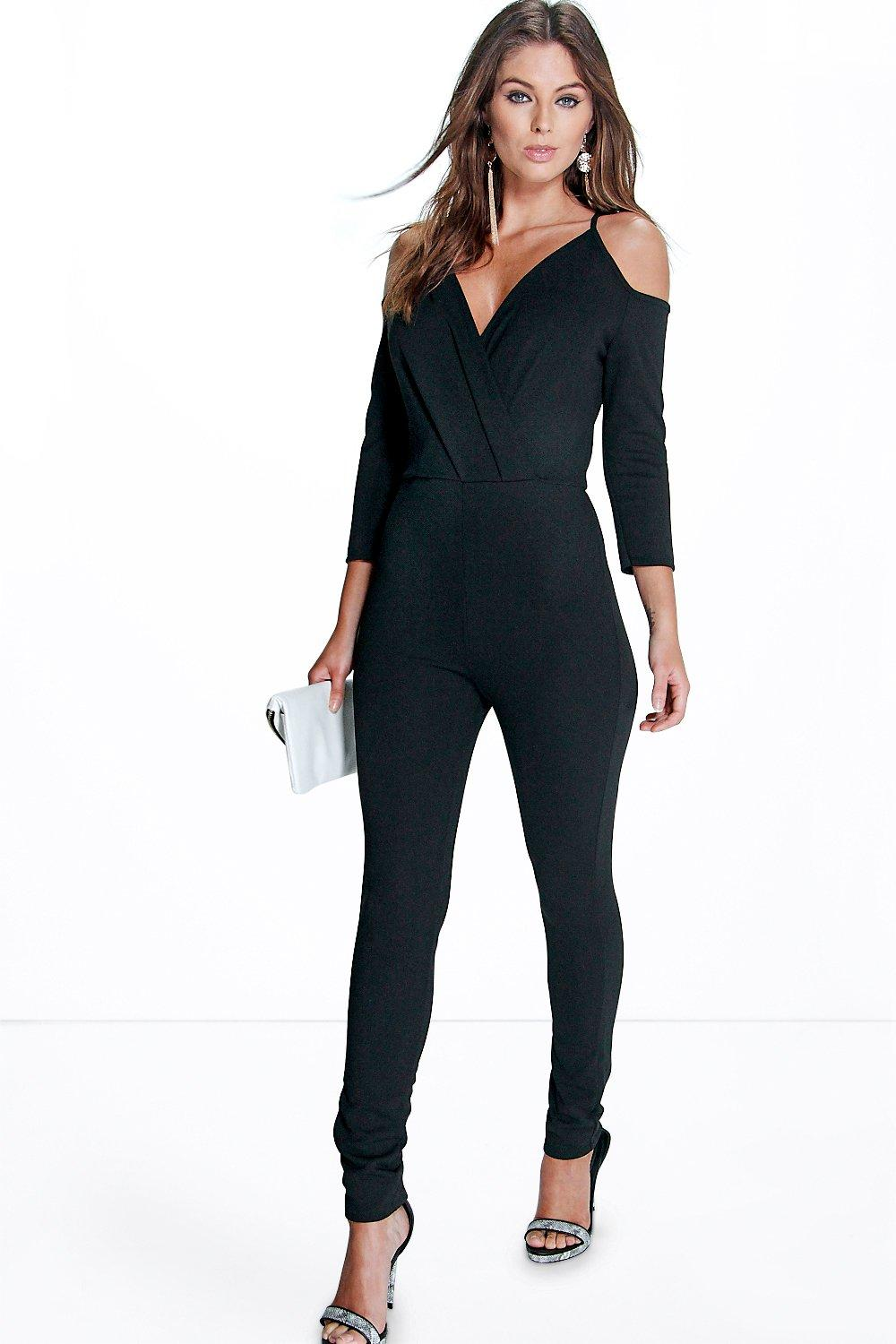Jesica Open Shoulder Skinny Leg Jumpsuit
