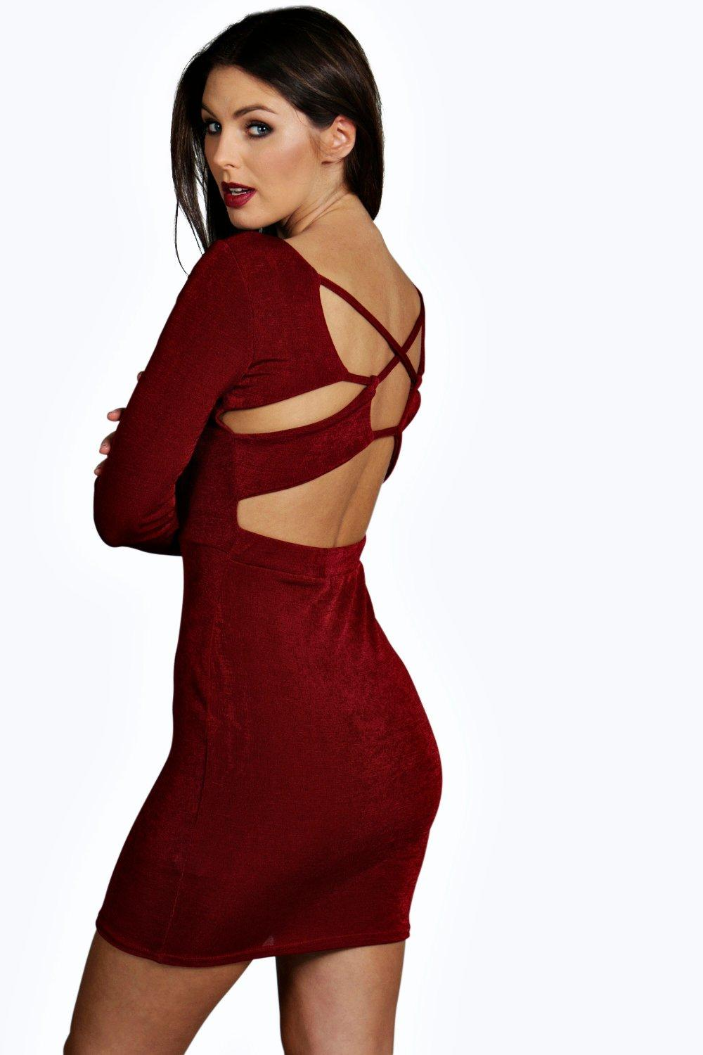 Rianna Strappy Back Long Sleeve Bodycon Dress
