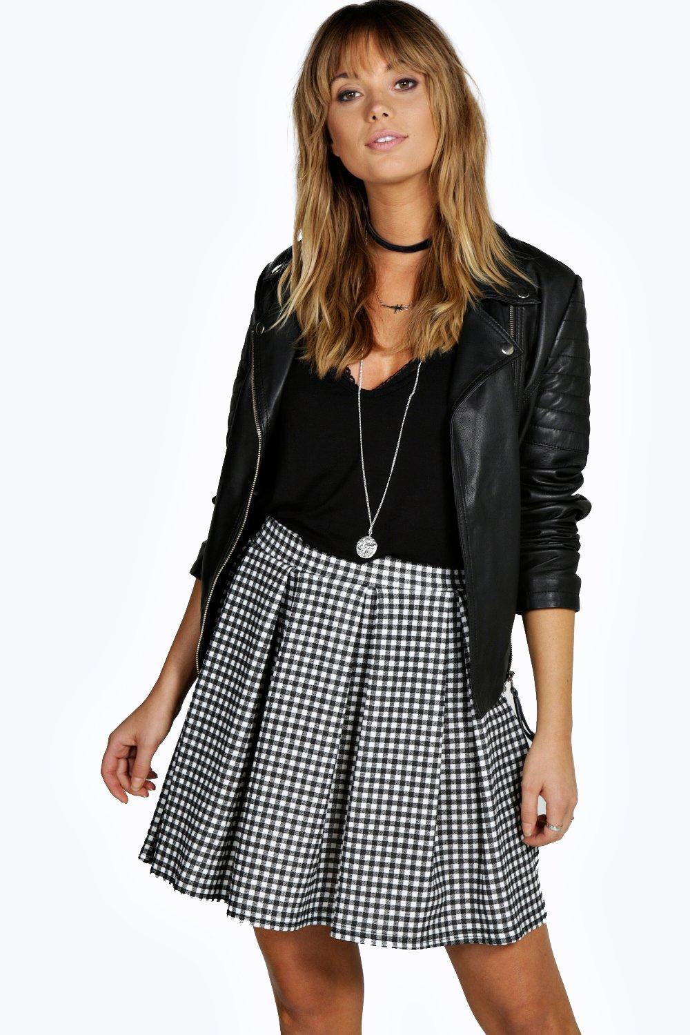 Amelle Monochrome Gingham Box Pleat Skater Skirt