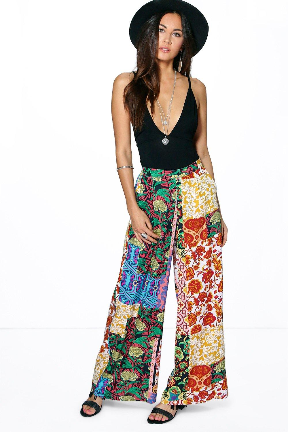 Nora Mixed Print Wide Leg Trouser