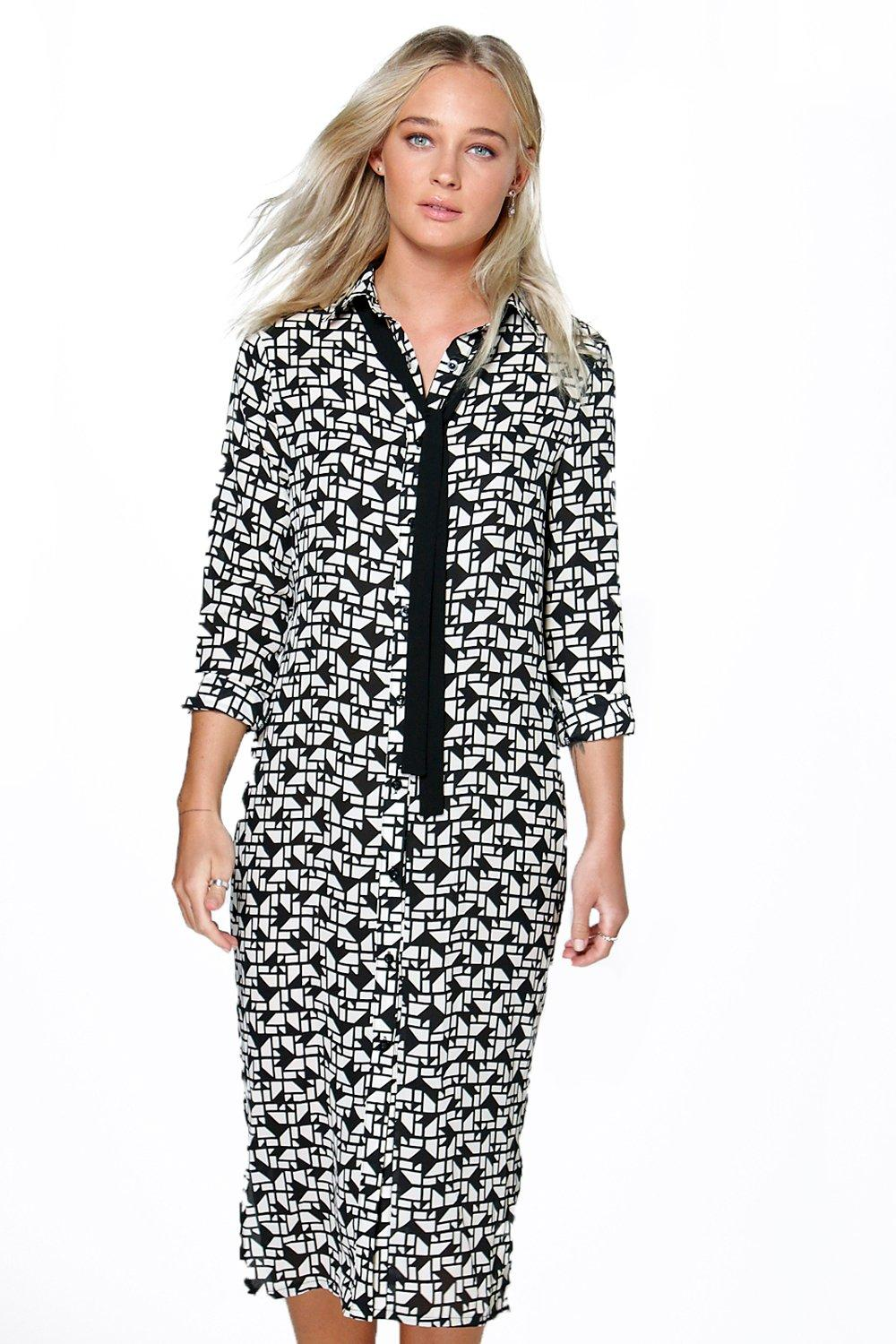 Eli Monochrome Geo Print Tie Neck Dress