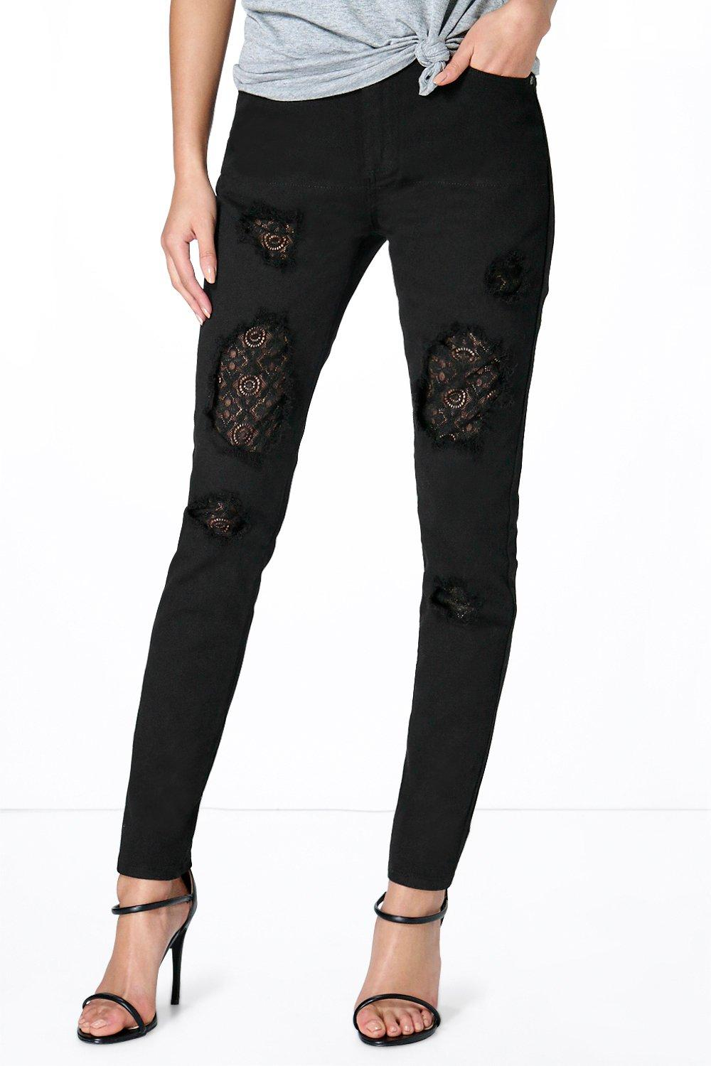 Rita Low Rise Lace Insert Skinny Jeans