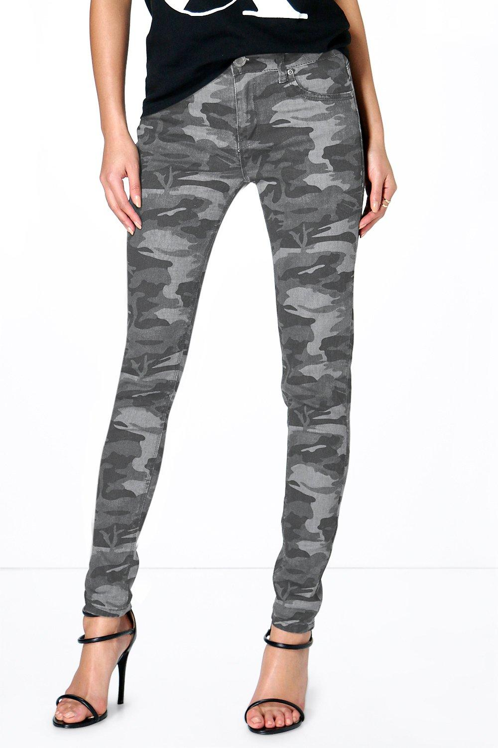 Anee Camouflage Print Skinny Jeans