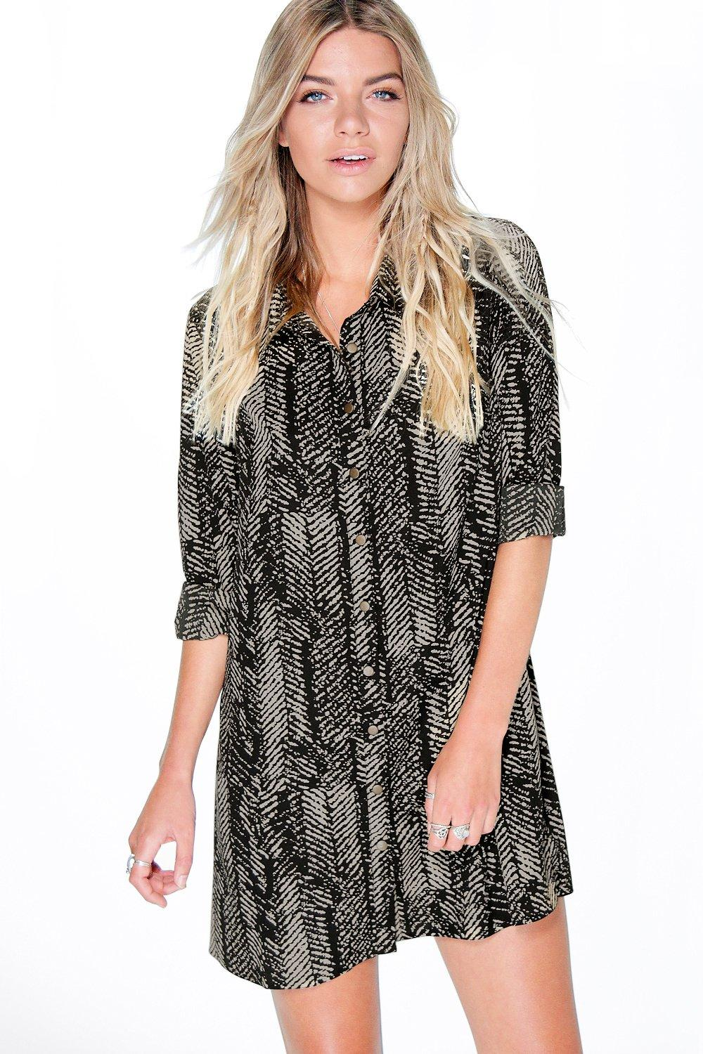 Claudia Printed Utility Shirt Dress