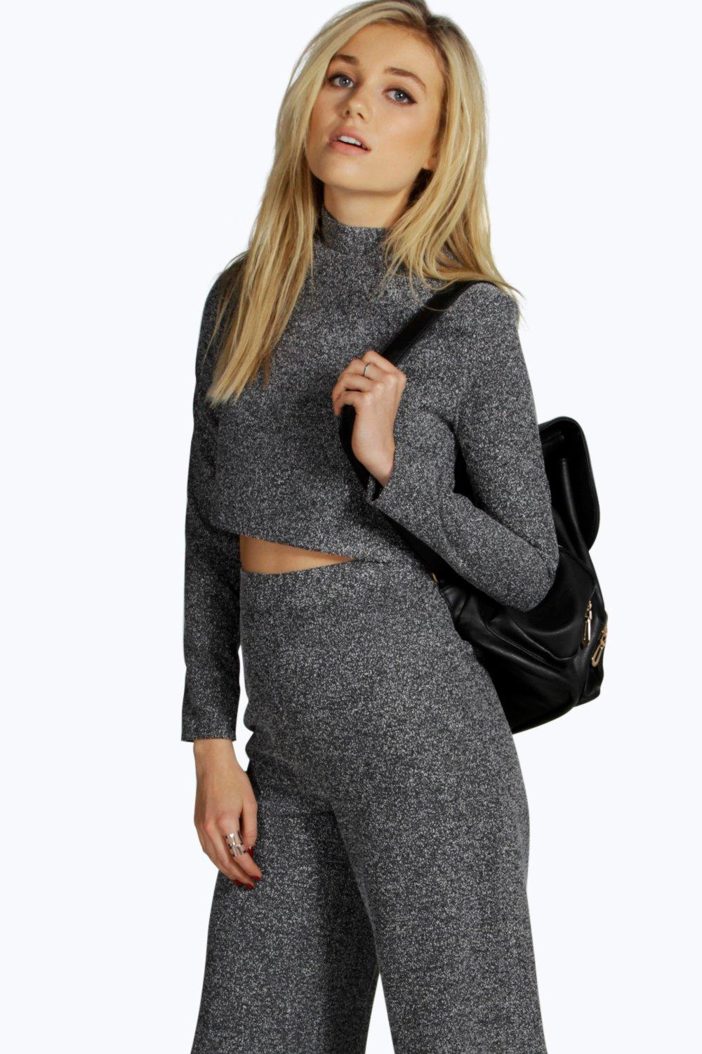 Tara Boucle High Neck Crop Top