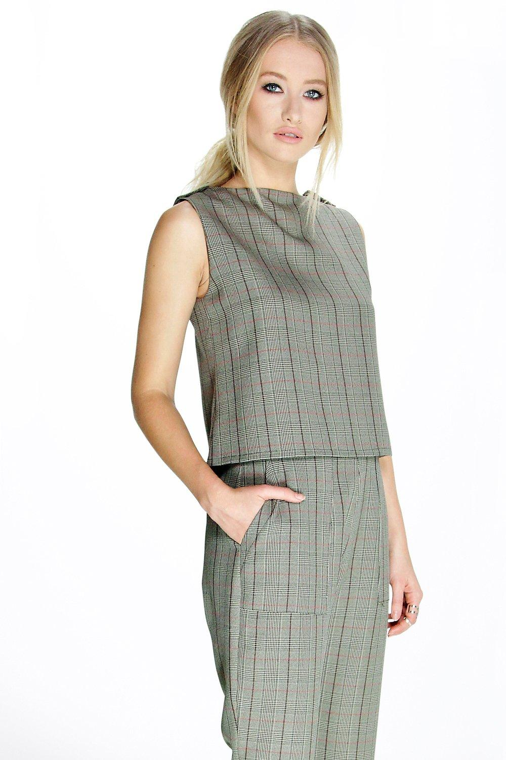 Cara Check Sleeveless Top