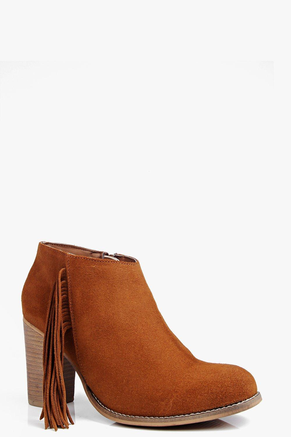 Boutique Leah Fringe Trim Suede Ankle Boot