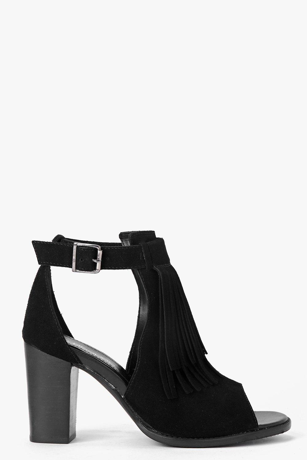 Boutique Emily Suede Fringed Trim Cut Work Sandal