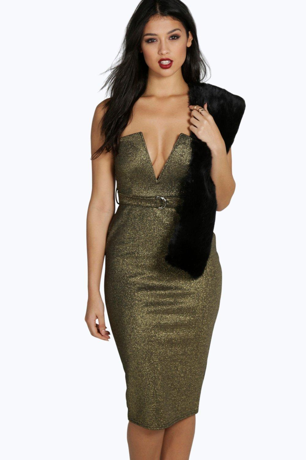 Vanessa Metallic Plunge Belted Midi Dress