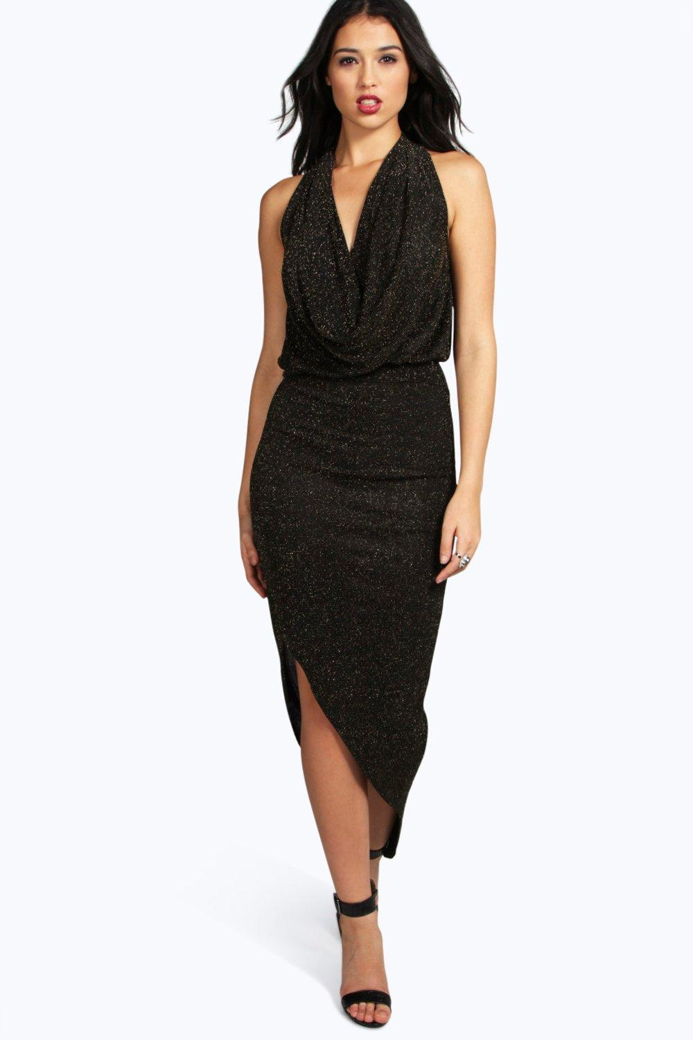 Laila Metallic Cowl Front Asymmetric Maxi Dress at boohoo.com