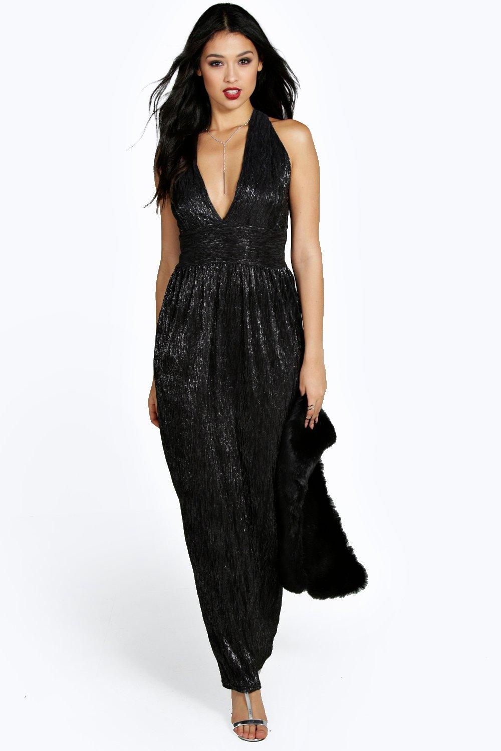 Emma Metallic Plunge Maxi Dress