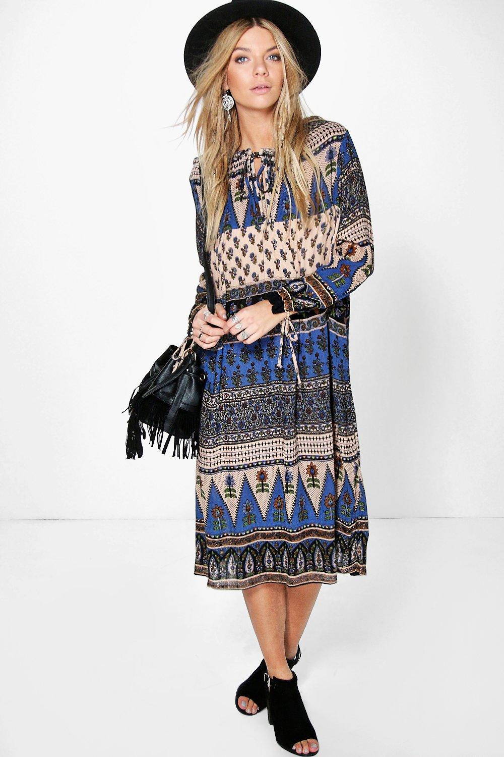 Patricia Paisley Tassel Midi Dress
