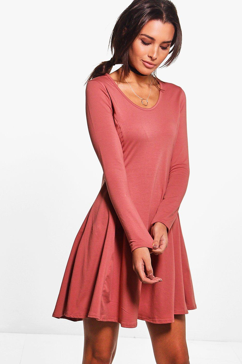 Sara seam detail long sleeve skater dress at for Boohoo dresses for weddings